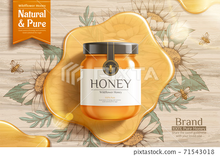 Engraving honey ad template 71543018
