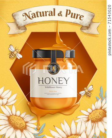 Engraving honey ad template 71543020