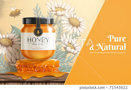 Engraving honey ad template 71543022