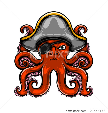 The pirates octopus has only one eye and his color is red with has many tentacle 71545136