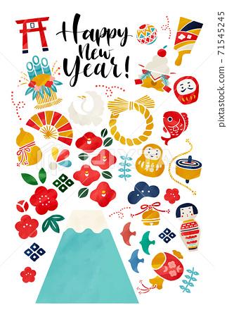 新年賀卡插圖矢量素材 71545245