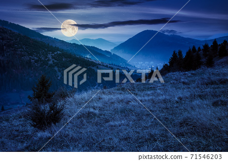 foggy morning in carpathian countryside at night. village down in the rural valley. trees in fall foliage on the hills in full moon light. gloomy weather 71546203