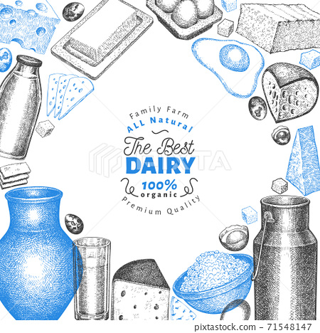 Farm food design template. Hand drawn vector dairy illustration. Engraved style different milk products and eggs banner. Retro food background. 71548147