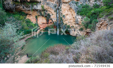 Top view of Turche cave and waterfall in Valencia 71549436