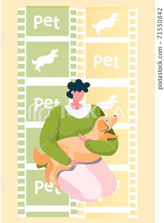 Young woman squatted down, hugging her dog. Funny girl playing her domestic animal tender doggy 71550842