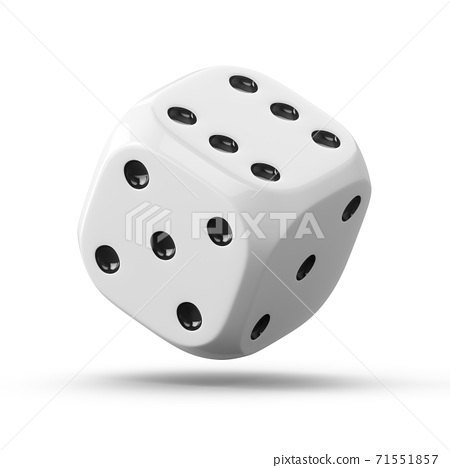 3d rendering one white dice isolated on white background 71551857