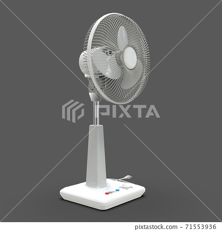 White electric fan. Three-dimensional model on a gray background. Fan with control buttons on the stand. A simple device for air ventilation. 3d illustration. 71553936