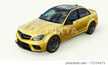 Super fast sports car color gold metallic on a white background. Body shape sedan. Tuning is a version of an ordinary family car. 3d rendering. 71554075