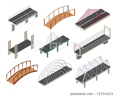 Vector isometric bridges icons set. 3d isolated drawing elements of a modern urban infrastructure for games or applications. City transport objects, road crossing, construction architecture 71554253