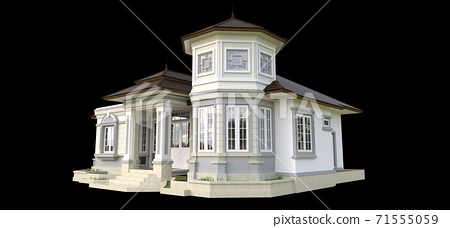 Old house in Victorian style. Illustration on black background. Species from different sides. 3d rendering. 71555059