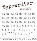 Typewriter alphabet and numbers isolated on white background 71555358