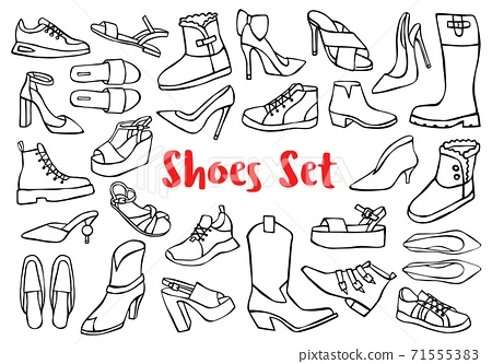Hand drawn doodle shoes, pumps, boots, sneakers isolated on white background 71555383
