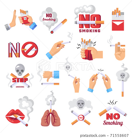 Cigarette icon. Dangerous from smoke of cigarettes vector lungs protection concept illustrations 71558607