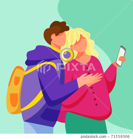 Young couple looking to smartphone screen flat vector illustration. Teenage lovers with gadget. Millennials. Adolescent boyfriend hugging girlfriend isolated cartoon character on turquoise background 71559306