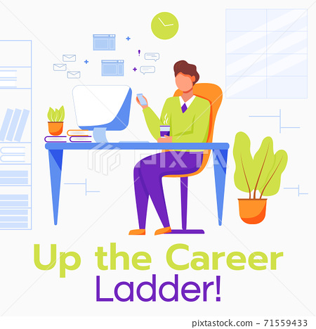 Up the career ladder social media post mockup. Comfortable workplace. Advertising web banner design template. Social media booster, content layout. Promotion poster, print ads with flat illustrations 71559433