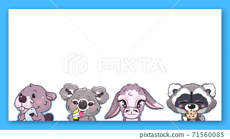 Cute animals kawaii characters vector frame. Anime baby koala, donkey, raccoon eating cookie, beaver emoji isolated square border with text space. Kids book illustration, poster design element 71560085