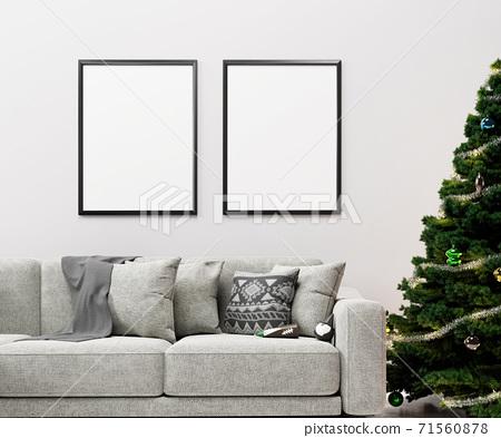 크리스마스 거실 인테리어 액자 목업 71560878