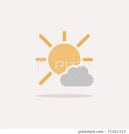 Sunny day and cloud. Color icon with shadow. Weather vector illustration 71561323