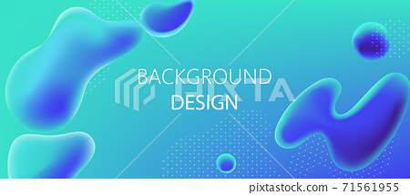 Abstract background design of water alike blobs and white dots pattern. Realistic 3D mockup product placement 71561955