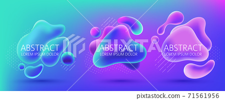 Set of three abstract background design of water alike blobs, white dots and lines pattern. Place for text. Realistic 3D mockup product placement 71561956