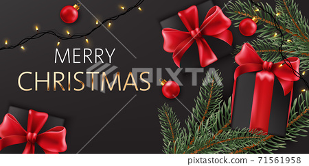Composition of christmas decorations, pine twigs and black gift boxes with red ribbons. Realistic 3D mockup product placement 71561958