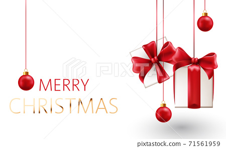 Christmas composition of hanging gift box with red ribbons and decorative balls. Realistic 3D mockup product placement 71561959