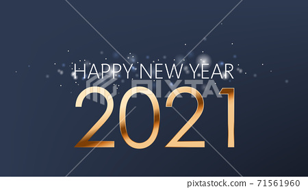 New year composition of golden numbers and silver sparkles on dark blue background. Realistic 3D mockup product placement 71561960