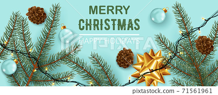 Christmas decorations composition, Pine cones, twigs, festive lights, ribbons, and clear sphere. Happy holidays. Realistic 3D mockup product placement 71561961