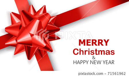 Plain white background with red ribbons. Merry Christmas and happy new year. Realistic 3D mockup product placement 71561962