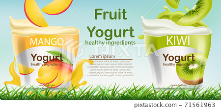 Two containers with mango and kiwi fruits yogurt on grass. Place for text. Healthy ingredients. Realistic 3D mockup product placement 71561963