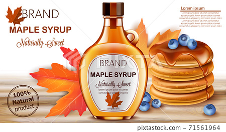 Bottle of natural sweet maple syrup with stacked pancakes with blueberries and autumnal leaves in background. Place for text. Realistic 3D mockup product placement 71561964