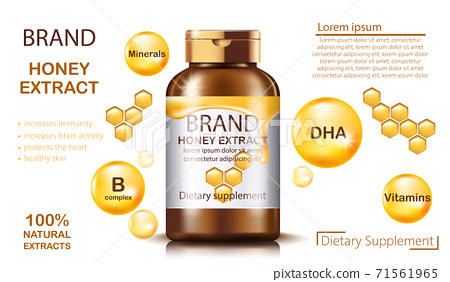 Bottle with natural honey extract dietary supplement. Increases immunity and brain activity, protects the heart and healthy skin. Contains minerals, B complex, vitamins and DHA. Place for text. 71561965