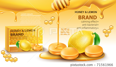 Honey and lemon drops with natural extracts. Calming effect. Antibacterial and anti-inflammatory. Place for text. Realistic 3D mockup product placement 71561966