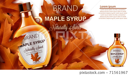 Bottle of naturally sweet maple syrup submerged in autumnal leaves. Place for text. Realistic 3D mockup product placement 71561967