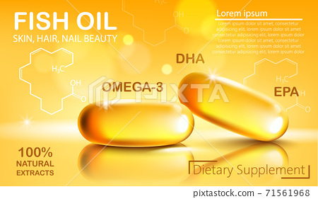 Two shiny capsules with natural extract of fish oil for skin, hair and nail beauty. Dietary supplement with OMEGA-3, DHA and EPA. Place for text. Realistic 3D mockup product placement 71561968