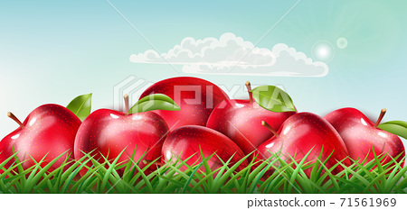Pile of red apples laid down on the grass with clouds floating on sunny sky. Realistic 3D mockup product placement 71561969