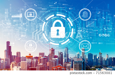 Internet network security concept with downtown Chicago cityscape 71563081