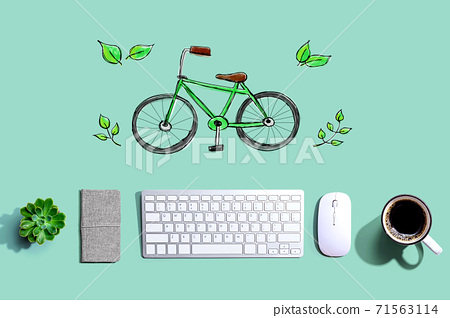 Eco bicycle with a computer keyboard 71563114
