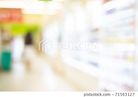 Blur image of Shopping mall or exhibition hall and people for background usage 71563127