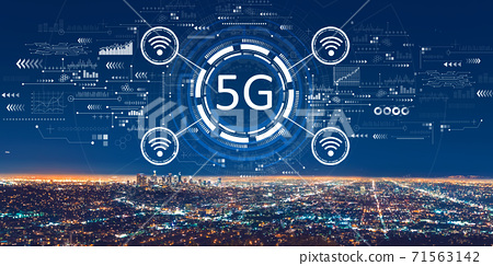 5G network with downtown Los Angeles 71563142