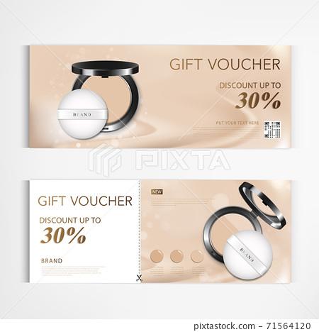 Gift voucher cosmetics modern cheek blush pink or makeup powder for annual sale blue packaging template vector design EPS10. 71564120