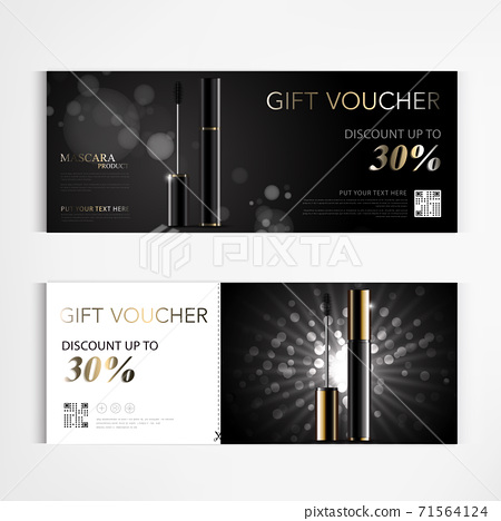 Gift voucher cosmetics luxury mascara for annual sale blue packaging template vector design EPS10. 71564124
