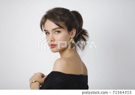 Fashion Portrait of Brunette Woman in Studio 71564353