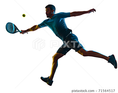 mature man Paddle Padel player shadow silhouette isolated white background 71564517