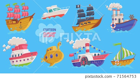 Set of childrens cartoon boats and submarines flat vector illustration isolated. 71564753
