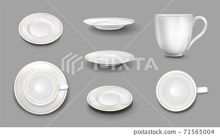 White plates or cups with gold border isolated set 71565004