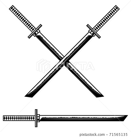 Samurai katana sword. Design element for logo, label, sign, banner, poster, flyer. 71565135
