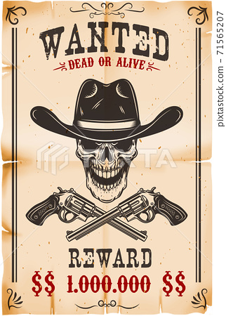 Wanted poster template. Cowboy skull with crossed revolvers. Design element for poster, card, label, sign, card, banner. 71565207