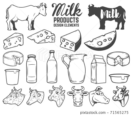 Set of milk products design elements. butter, cheese, sour cream, yogurt, cows. For package, poster, sign, banner, flyer. 71565275