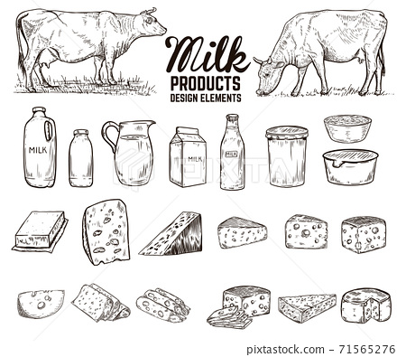 Set of hand drawn milk products design elements. butter, cheese, sour cream, yogurt, cows. For package, poster, sign, banner, flyer. 71565276